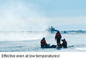 Image of Antarctic conditions - 'effective even at low temperatures'!